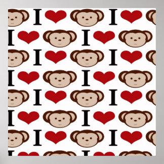 I Heart Monkeys I Love Monkey Valentines Gift Posters