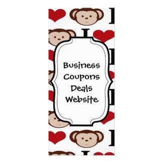 I Heart Monkeys I Love Monkey Valentines Gift Rack Card
