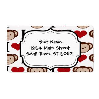 I Heart Monkeys I Love Monkey Valentines Gift Shipping Label