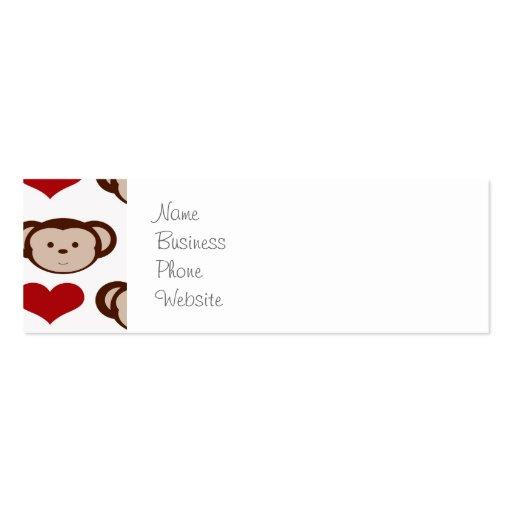 I Heart Monkeys I Love Monkey Valentines Gifts Business Card Template