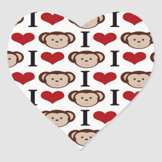 I Heart Monkeys I Love Monkey Valentines Gifts Heart Sticker