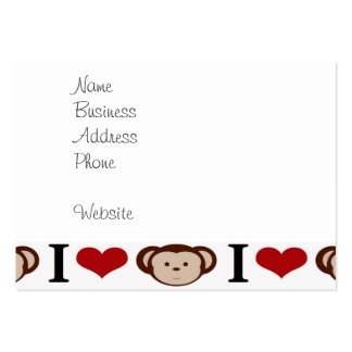 I Heart Monkeys I Love Monkey Valentines Gifts Large Business Card