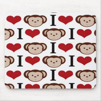 I Heart Monkeys I Love Monkey Valentines Gifts Mouse Pad