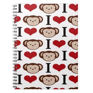 I Heart Monkeys I Love Monkey Valentines Gifts Spiral Notebooks