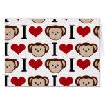 I heart monkeys on a white background. cards