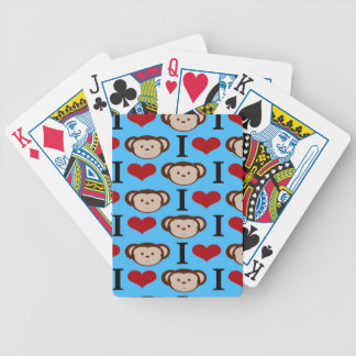 I Heart Monkeys Turquoise Teal Blue Valentines Bicycle Playing Cards