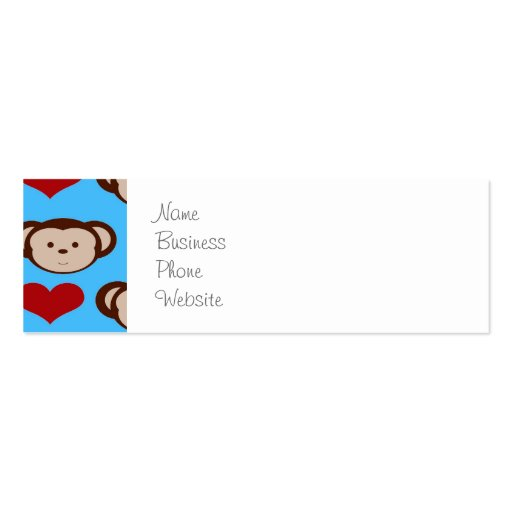 I Heart Monkeys Turquoise Teal Blue Valentines Business Card Templates