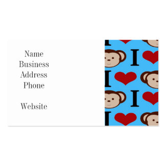 I Heart Monkeys Turquoise Teal Blue Valentines Double-Sided Standard Business Cards (Pack Of 100)