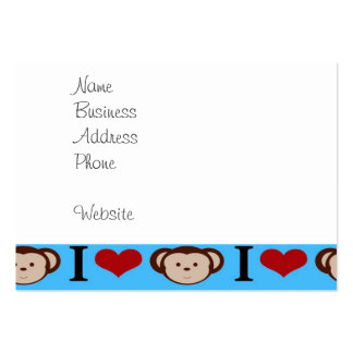 I Heart Monkeys Turquoise Teal Blue Valentines Large Business Card