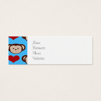 I Heart Monkeys Turquoise Teal Blue Valentines Mini Business Card