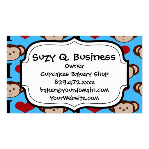 I Heart Monkeys Turquoise Teal Valentines Business Card Template