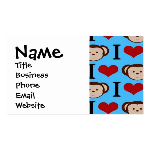 I Heart Monkeys Turquoise Teal Valentines Business Cards
