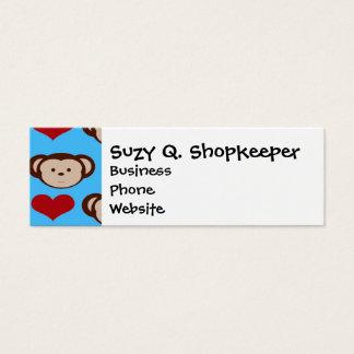 I Heart Monkeys Turquoise Teal Valentines Mini Business Card
