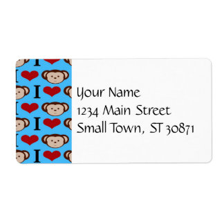 I Heart Monkeys Turquoise Teal Valentines Shipping Label