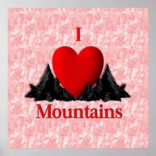 I Heart Mountains Design Poster