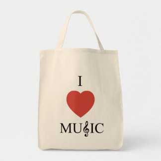 I Heart Music Grocery Tote