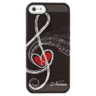 I HEART MUSIC Treble Clef Black Personalized Clear iPhone SE/5/5s Case