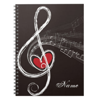 I HEART MUSIC Treble Clef Black Personalized Notebook