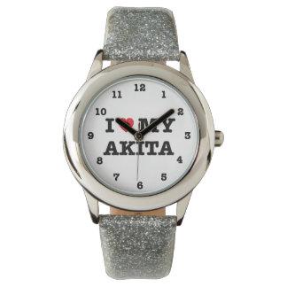 I Heart My Akita Numbered Wrist Watch