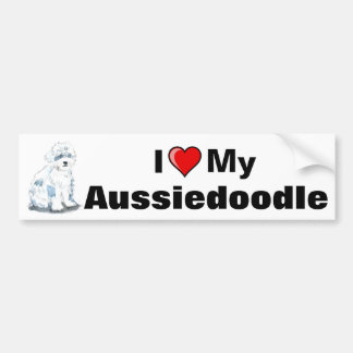 I Heart My Aussiedoodle Bumper sticker