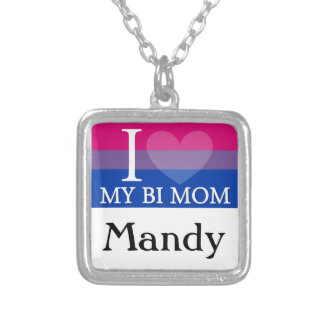 I Heart My Bi Mom Silver Plated Necklace