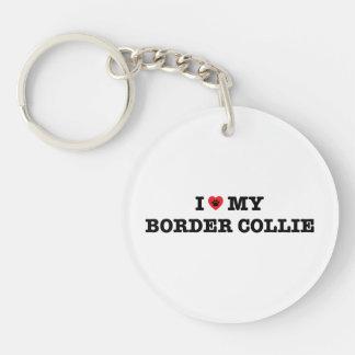 I Heart My Border Collie Acrylic Keychain