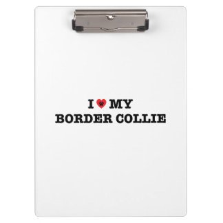 I Heart My Border Collie Clipboards
