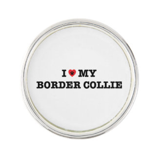 I Heart My Border Collie Lapel Pin