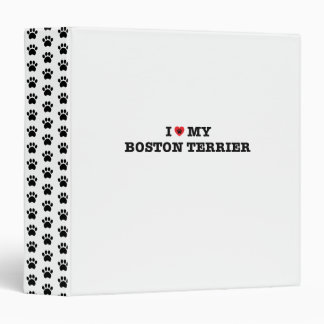 I Heart My Boston Terrier 3 Ring Binders
