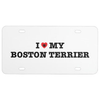 I Heart My Boston Terrier License Plate