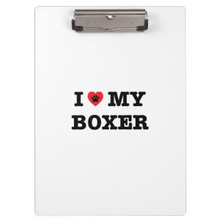 I Heart My Boxer Clipboard