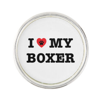 I Heart My Boxer Lapel Pin