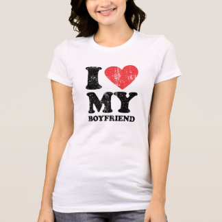 I Heart My Boyfriend Grunge (Black Text) T-Shirt