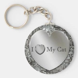 I Heart My Cat Silver Heart Keychain