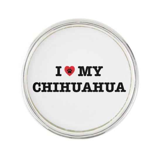 I Heart My Chihuahua Lapel Pin