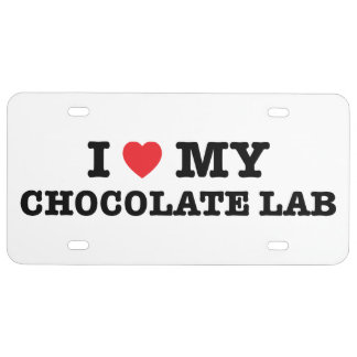 I Heart My Chocolate Lab License Plate