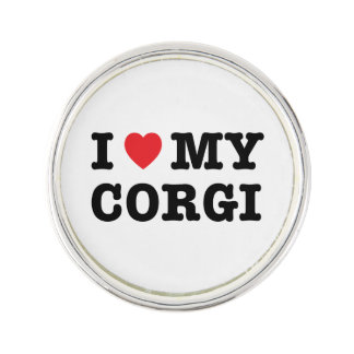 I Heart My Corgi Lapel Pin