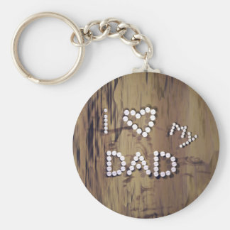 I Heart My Dad on Wood Graphic Keychain