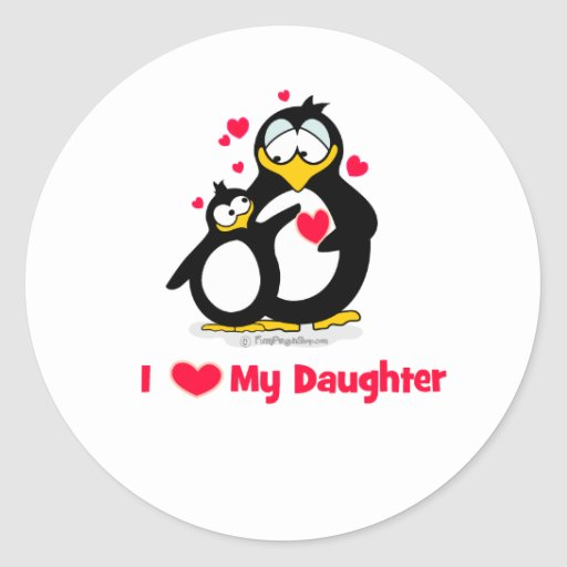 I Heart My Daughter Penguins Stickers
