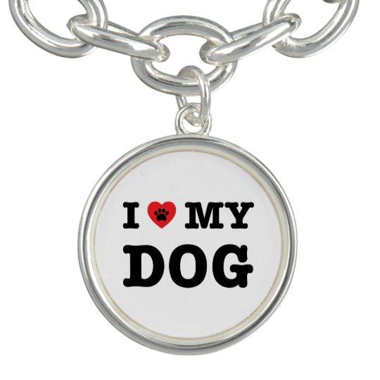 I Heart My Dog Charm Bracelets