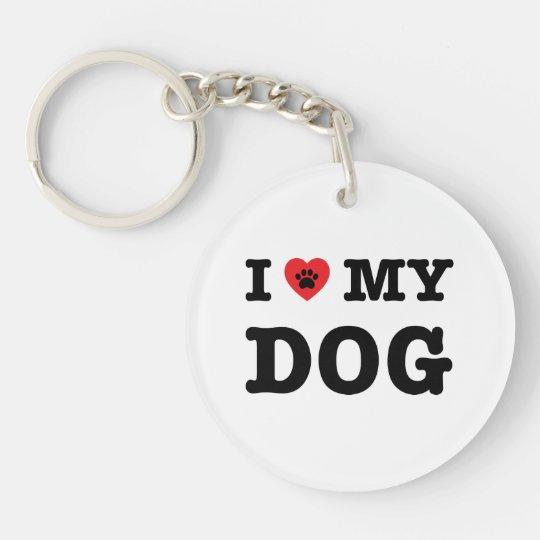 I Heart My Dog Keychain