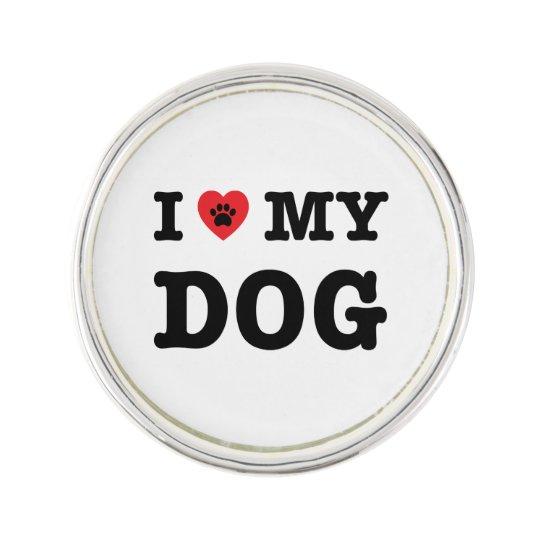I Heart My Dog Lapel Pin