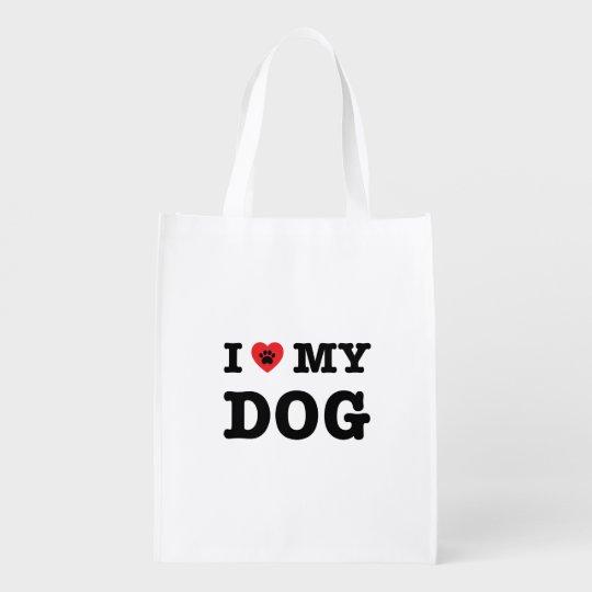 I Heart My Dog Reusable Grocery Bag