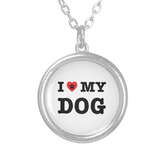 I Heart My Dog Silver Plated Necklace