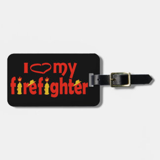 I Heart My Firefighter Luggage Tag