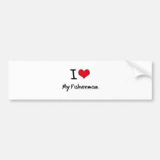 I heart My Fisherman Bumper Sticker