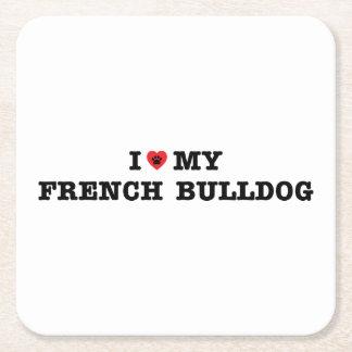 I Heart My French Bulldog Square Paper Coaster