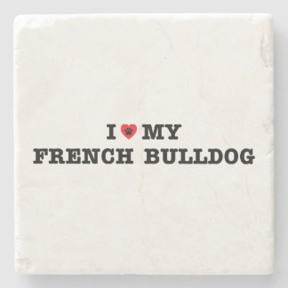 I Heart My French Bulldog Stone Coaster