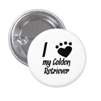 I Heart My Golden Retriever Pinback Button