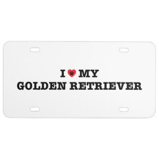 I Heart My Golden Retriever License Plate